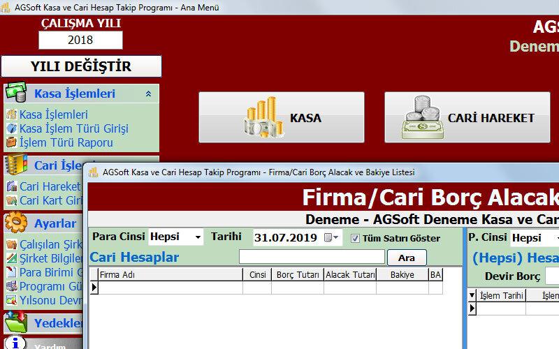 Agsoft Kasa ve Cari Hesap Takip Programı