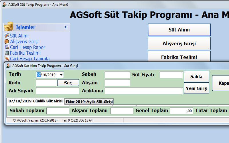 Agsoft Süt Takip Programı