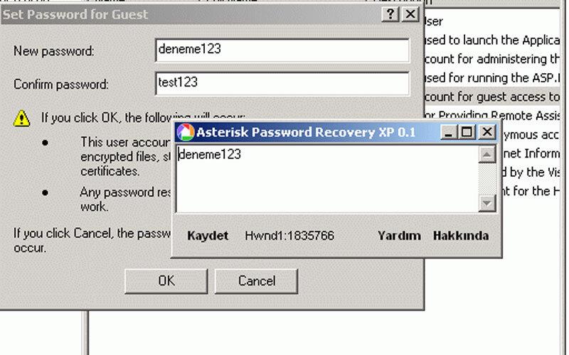 Asterisk Password Recovery XP – Windows XP için Şifre Yıldız İşaretini Bulma