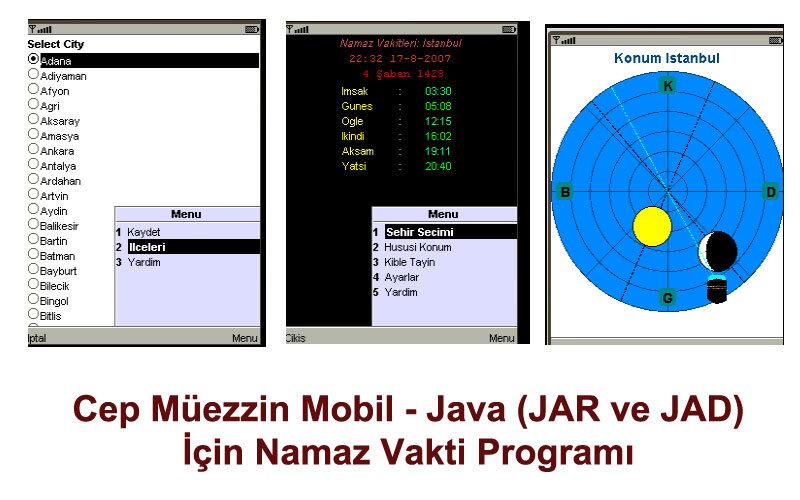 Cep Müezzin Mobil – Java (JAR ve JAD) için Namaz Vakti Programı