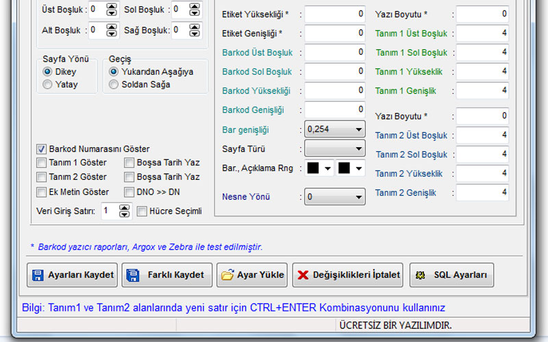 Datakent Barkod Etiket Basım Programı – Ücretsiz
