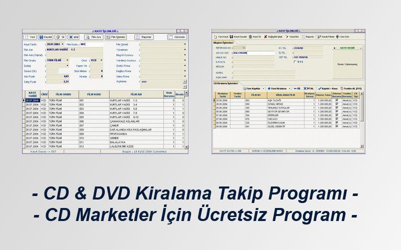 Datakent CD ve DVD Kiralama Takip Programı – CD Marketler için Ücretsiz Program