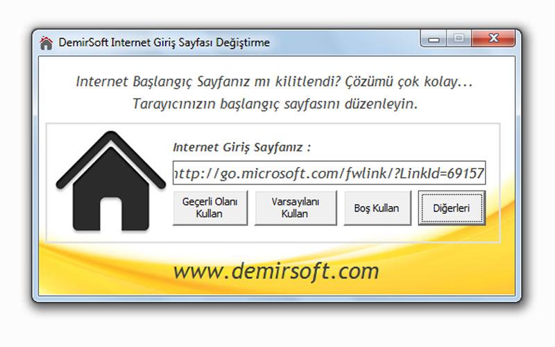 Demirsoft İnternet Giriş Sayfasını Kolay Değiştirme Programı