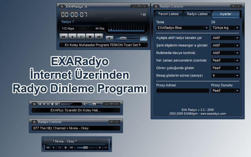 EXARadyo – İnternet Üzerinden Radyo Dinleme Programı