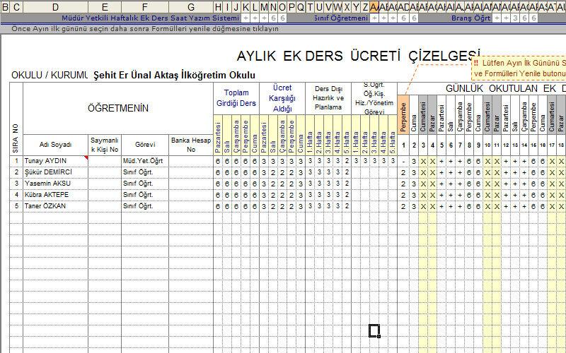 Excelvba Öğretmenlere Hazır Ek Ders Çizelgesi – Ücretsiz Excel Formatında