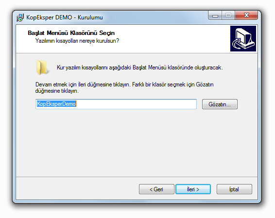 KopEksper Demo Windows Başlat Ayarlaması