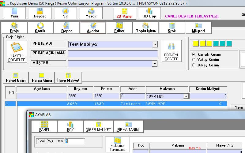 KopEksper Firesiz Kesim Optimizasyon Programı – Kesim Yapan İşyerleri için