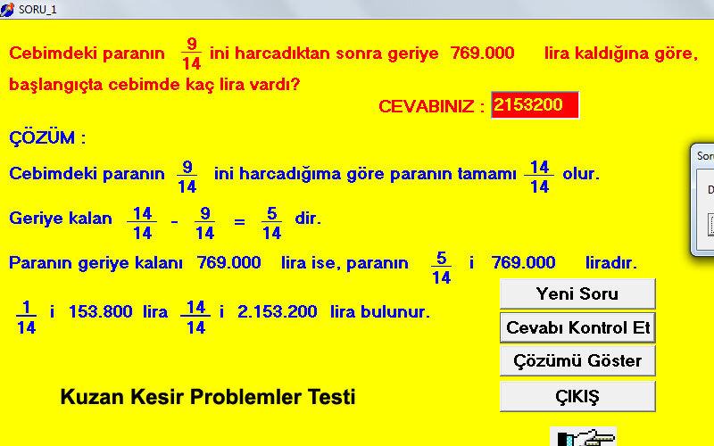 Kuzan Kesir Problemleri Testi PC için