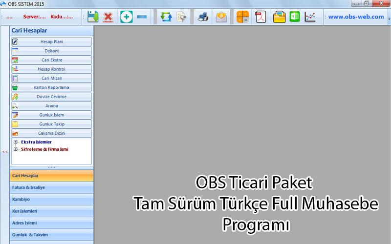 OBS Ticari Paket – Tam Sürüm Türkçe Full Muhasebe Programı