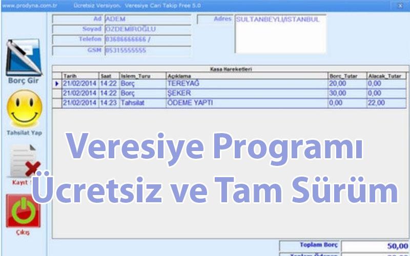 Prodyna Veresiye Programı – Ücretsiz ve Tam Sürüm