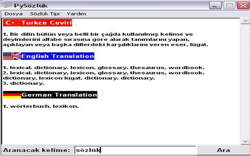 Pysözlük Sözlük Ücretsiz Türkçe, İngilizce ve Almanca