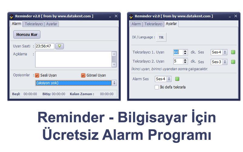 Reminder – Bilgisayar için Ücretsiz Alarm Programı