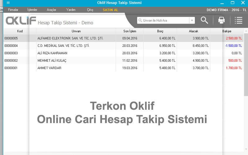 Terkon Oklif Online Cari Hesap Takip Sistemi