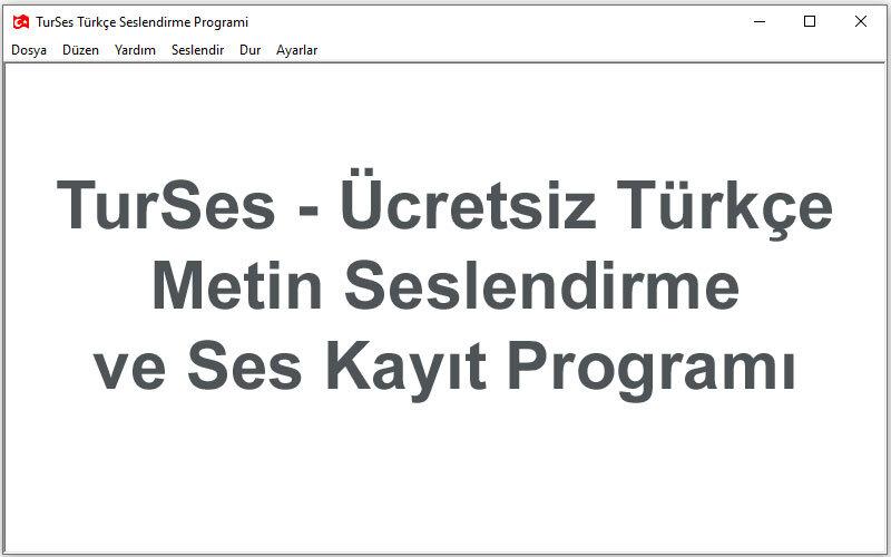 TurSes – Ücretsiz Türkçe Metin Seslendirme ve Ses Kayıt Programı