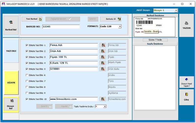 Yaylasoft Barkod Etiketi Oluşturma Programı