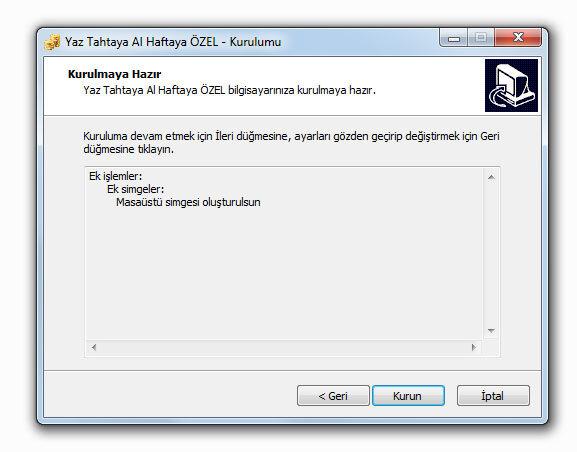 Yaz Tahtaya Al Haftaya Türkçe Veresiye Programı Kurulumu