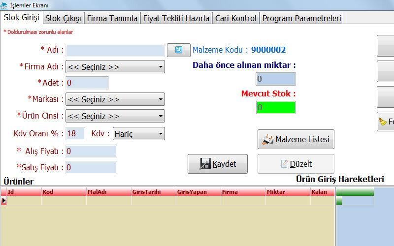 Yazılımda Hizmet Stok Takip / Fiyat Teklifi / Cari Kontrol Programı